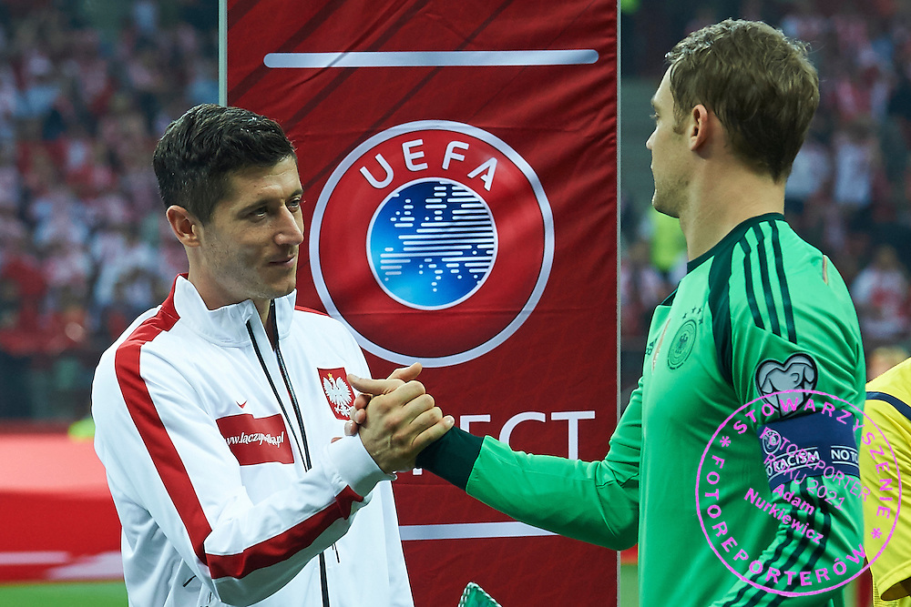 Poland's Robert Lewandowski (L) and German's goalkeeper Manuel Neuer before the EURO 2016 qualifying match between Poland and Germany on October 11, 2014 at the National stadium in Warsaw, Poland<br /> <br /> Picture also available in RAW (NEF) or TIFF format on special request.<br /> <br /> For editorial use only. Any commercial or promotional use requires permission.<br /> <br /> Mandatory credit:<br /> Photo by &copy; Adam Nurkiewicz / Mediasport