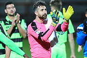 Forest Green Rovers goalkeeper Sam Russell(23) applauds the fans at the end of the match during the EFL Trophy match between Cheltenham Town and Forest Green Rovers at Whaddon Road, Cheltenham, England on 3 October 2017. Photo by Shane Healey.