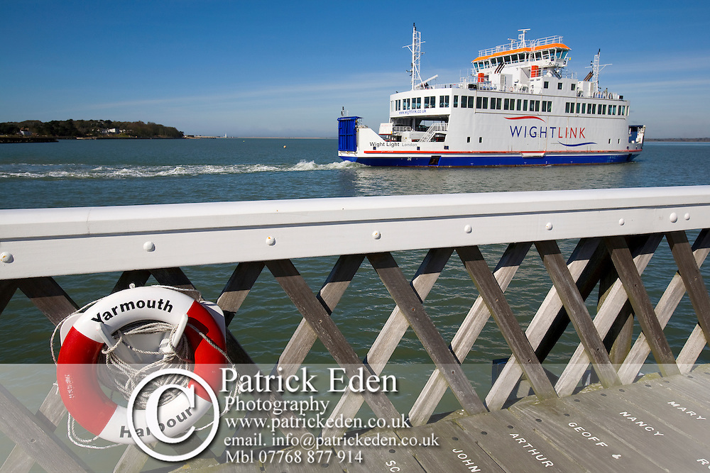 New, Wight Link, Ferry, Pier, lifebelt, Yarmouth, Isle of Wight, England, UK, photography photograph canvas canvases