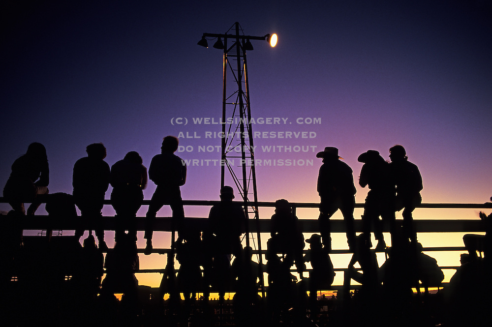 Image of spectators at the Santa Fe Rodeo at night, Santa Fe, New Mexico, American Southwest