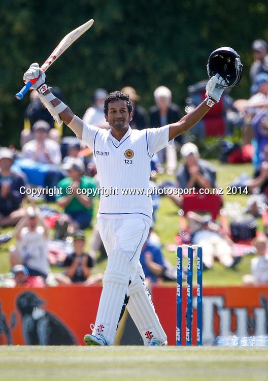 Dimuth Karaunaratne celebrates his maiden test century. Day 3, ANZ Boxing Day Cricket Test, New Zealand Black Caps v Sri Lanka, 28 December 2014, Hagley Oval, Christchurch, New Zealand. Photo: John Cowpland / www.photosport.co.nz