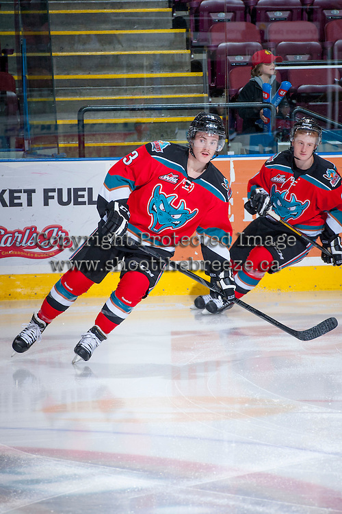 KELOWNA, CANADA - NOVEMBER 30: Riley Stadel #3 of the Kelowna Rockets warms up against the Kamloops Blazers on November 30, 2013 at Prospera Place in Kelowna, British Columbia, Canada.   (Photo by Marissa Baecker/Shoot the Breeze)  ***  Local Caption  ***
