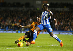 Elvis Manu of Brighton and Hove Albion is challenged by Danny Batth of Wolverhampton Wanderers - Mandatory byline: Paul Terry/JMP - 07966 386802 - 01/01/2016 - FOOTBALL - Falmer Stadium - Brighton, England - Brighton v Wolves - Sky Bet Championship