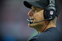 20 January 2013: Had coach Jim Harbaugh of the San Francisco 49ers Calls plays against the Atlanta Falcons during the first half of the 49ers 28-24 victory over the Falcons in the NFC Championship Game at the Georgia Dome in Atlanta, GA.