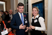 LEON BAUM; URSULA VON PLATEN, Streetsmart Reception at 11 Downing St. London. 1 November 2011. <br /> <br />  , -DO NOT ARCHIVE-© Copyright Photograph by Dafydd Jones. 248 Clapham Rd. London SW9 0PZ. Tel 0207 820 0771. www.dafjones.com.