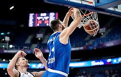 Gasper Vidmar of Slovenia vs Georgios Papagiannis of Greece during basketball match between National Teams of Slovenia and Greece at Day 4 of the FIBA EuroBasket 2017 at Hartwall Arena in Helsinki, Finland on September 3, 2017. Photo by Vid Ponikvar / Sportida