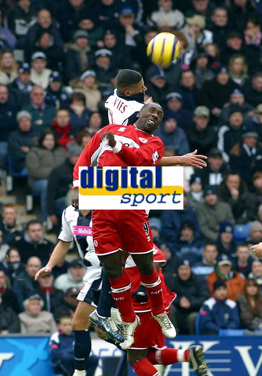 Photo: Dave Linney.<br />West Bromwich Albion v Middlesbrough. The Barclays Premiership. 26/02/2006.Middlesbrough's Jimmy Floyd Hasselbank (Front) beats   Curtis Davies to the ball