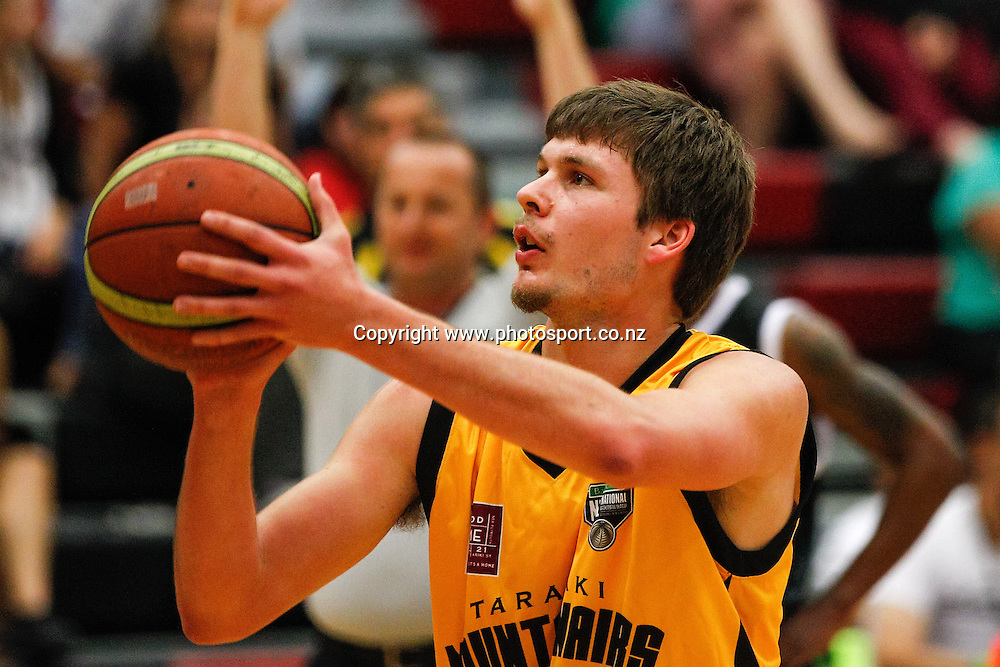Taranaki Mountain Airs Brad Anderson lines up a free throw during the NBL basketball match - Waikato v Taranaki at Hamilton Boys High School, Hamilton on Sunday 13 April 2014.  Photo:  Bruce Lim / www.photosport.co.nz