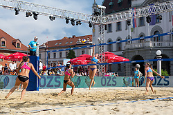 Pauline Alves of Brasil and Susanne Kreuzriegler of Austria and Tereza Jarosova and Gabriela Kotvova of Czech Republic at Beach Volleyball Challenge Ljubljana 2014, on August 2, 2014 in Kongresni trg, Ljubljana, Slovenia. Photo by Matic Klansek Velej / Sportida.com