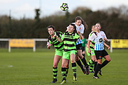 Forest Green Rovers Abby Dance(5) heads the ball during the South West Womens Premier League match between Forest Greeen Rovers Ladies and Marine Academy Plymouth LFC at Slimbridge FC, United Kingdom on 5 November 2017. Photo by Shane Healey.