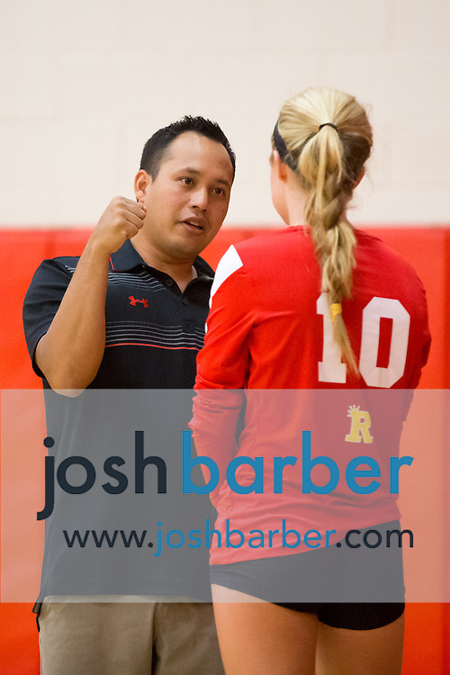Head coach Darren Ong, Morgan Kendrick during a non-league girl's volleyball match between the Canyon Comanches and Rosary Royals at Rosary Academy on Thursday, September 17, 2015 in Fullerton, California.
