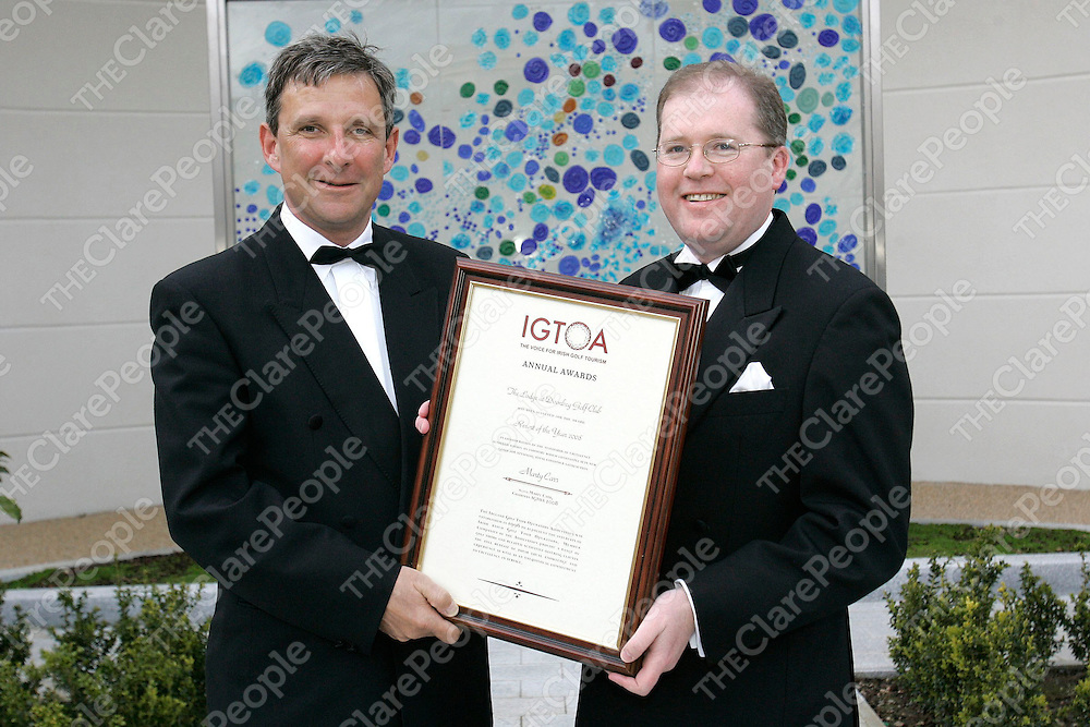 The Lodge at Doonbeg Golf Club has become the inaugural winner of the Irish Golf Tour Operators Award (IGTOA) for Best Resort Of The Year. Joe Russell (right) General Manager of Doonbeg Golf Club is pictured here receiving the award from Marty Carr, CEO of Carr Golf at a ceremony held in the Ritz Carlton Hotel in Powerscourt last night ( Monday 31st March 2008). Pic Mac Innes Photography