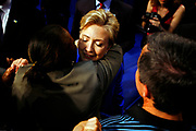 Presidential hopeful Hillary Clinton is holding her victory speech at the Baruch College after winning South Dakota, applauding Obama for Montana but not yet conceding.<br /> <br /> A warm hug after the speech.