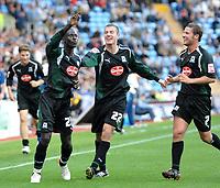 Photo: Ed Godden.<br />Coventry City v Plymouth Argyle. Coca Cola Championship. 30/09/2006. Cherno Samba (L) celebrates his goal for Plymouth.