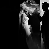 Linda & Daniel's wedding portrait during their reception at the Velas Vallarta Resort. Photo by: Melissa Suneson.
