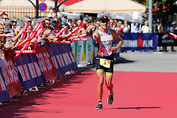 21.06.2014, Remich, LUX, Ergo Ironman 70.3, im Bild Nils Frommhold (Triathlon Potsdam) feiert beim Zieleinlauf seinen zweiten Platz beim 70.3 Luxembourg // during the Ergo Ironman 70.3 in Remich, Luxembourg on 2014/06/21. EXPA Pictures © 2014, PhotoCredit: EXPA/ Eibner-Pressefoto/ Schueler<br /> <br /> *****ATTENTION - OUT of GER*****