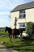 Horse Window Cleaner<br /> <br /> EMMA Massingale has no trouble cleaning her top windows she just jumps on to the back of her horses.....The leading equine behaviourist can reach up 20-30ft to get to her upstairs panes without a ladder in sight.....Amazing Emma, 29, balances on her two horses with perfect poise to wash windows at her farm in Bradworthy, Devon.....The TV expert said: In my line of work, even housework is never dull!....Emma set up her training centre in 2001 when just 19 and has rapidly become one of the UKs premier horse trainers and authorities.....Dubbed the Horse Whisperer, the brilliant specialist has worked with animals in Australia, Germany, Portugal and all over Britain.....Emma works with about 130 horses a year with behavioural and attitude problems and has a high success rate...<br /> ©Exclusivepix