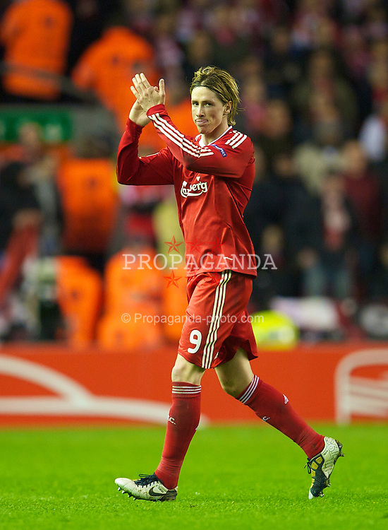 LIVERPOOL, ENGLAND - Thursday, April 8, 2010: Liverpool's Fernando Torres is given a standing ovation from all sides of Anfield Stadium as he is substituted late on during the UEFA Europa League Quarter-Final 2nd Leg match against at Anfield. (Photo by: David Rawcliffe/Propaganda)