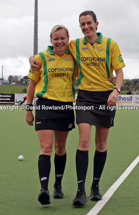 Umpires Amber Church and Mel Oakden at the Ford National Hockey League Final, North Harbour Hockey Stadium, Auckland, New Zealand, Sunday, August 25, 2013. Photo: David Rowland/Photosport