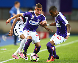 14.07.2016, Ernst Happel Stadion, Wien, AUT, UEFA EL, FK Austria Wien vs FK Kukesi, Qualifikation, 2. Runde, Hinspiel, im Bild Rangel (FK Kukesi), Venuto (FK Austria Wien) und Felipe Pires (FK Austria Wien) // during a UEFA Europa League Qualifier, Second round, first leg, between FK Austria Vienna and FK Kukesi at the Ernst Happel Stadion, Wien, Austria on 2016/07/14. EXPA Pictures © 2016, PhotoCredit: EXPA/ Thomas Haumer
