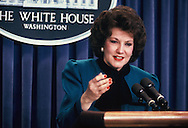 Elizabeth Dole answers a question in the White House Press Briefing Room on March 27, 1987<br /> Photo by Dennis Brack