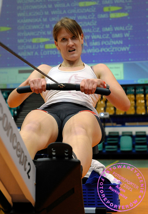MONIKA KAMINSKA COMPETES DURING 20TH POLISH CHAMPIONSHIPS IN ROWING ERGOMETER AT ORBITA HALL IN WROCLAW, POLAND...WROCLAW , POLAND , JANUARY 29, 2011..( PHOTO BY ADAM NURKIEWICZ / MEDIASPORT )