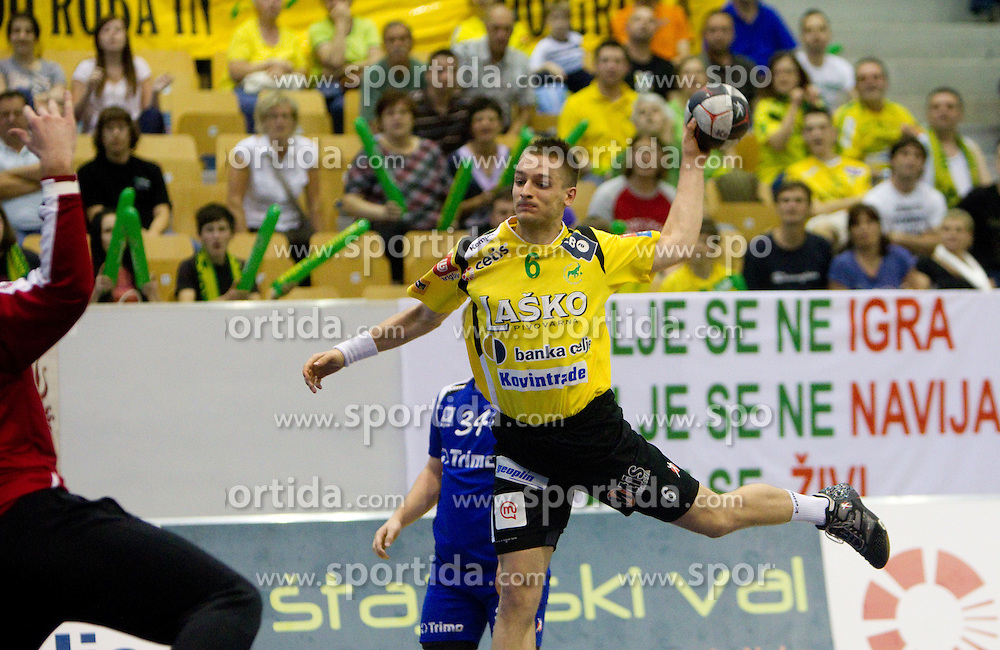 Gasper Marguc of Celje during handball match between RK Celje Pivovarna Lasko and Trimo Trebnje of last Round of 1st Slovenian Handball league, on May 27, 2011 in Arena Zlatorog, Celje, Slovenia. Celje defeated Trimo 32-28 and win 3rd place in Slovenian National Championship. (Photo By Vid Ponikvar / Sportida.com)