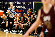 Seattle Pacific Coach Julie Heisey watches her team during the second half of the Falcons' 74-65 victory against Alaska Anchorage in a semifinal game at the Great Northwest Athletic Conference Tournament in Anchorage, Alaska on Friday, March 2, in Anchorage, Alaska. (Jay Christensen/Image of Sport)