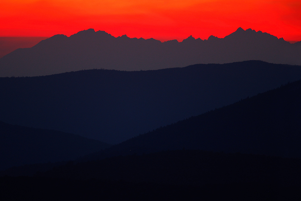 View at Tatra Mountains from Rozsypaniec Peak at sunset, Bieszczady National Park, Poland