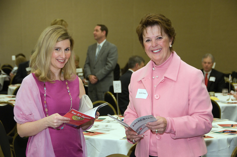 Emily Harris, left, and Kathie Hodge.<br /> <br /> The fourth annual MediStar Awards Presentation and Cocktail Reception, a Medical News Signature Event, March 30, 2010 in the Archibald Cochran Room at the Galt House in Louisville, Ky. The MediStar Awards were established in 2007 as the region's premier venue for recognizing excellence in the business of Healthcare. (Photo by Brian Bohannon)