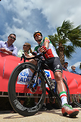 March 2, 2019 - Dubai, United Arab Emirates - Elia Viviani of Italy and Deceuninck - Quick Step Team, seen at the start line of the seventh and final stage - Dubai Stage of the UAE Tour 2019, a 145km with a start from Dubai Safari Park and finish in City Walk area. .On Saturday, March 2, 2019, in Dubai Safari Park, Dubai Emirate, United Arab Emirates. (Credit Image: © Artur Widak/NurPhoto via ZUMA Press)