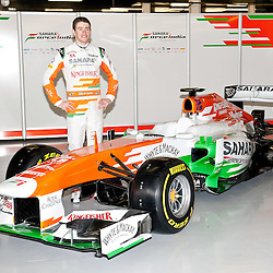 Paul Di Resta standing aside this years VJM06 Sahara Force India F1 car. Unveiled at Silverstone Circuit, Northamptonshire, England on the 1st February 2013.  WAYNE NEAL | STOCKPIX.EU