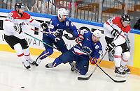 Damien Fleury / Antoine Roussel - 05.05.2015 - Autriche / France  - Championnats du Monde de Hockey sur Glace 2015 -Prague<br />Photo : Xavier Laine / Icon Sport