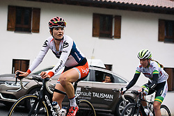 Joëlle Numainville sees there's still more climbing to come around the switchback - Emakumeen Bira 2016 Stage 4 - A 76 km road stage starting and finishing in Portugalete, Spain on 17th April 2016.