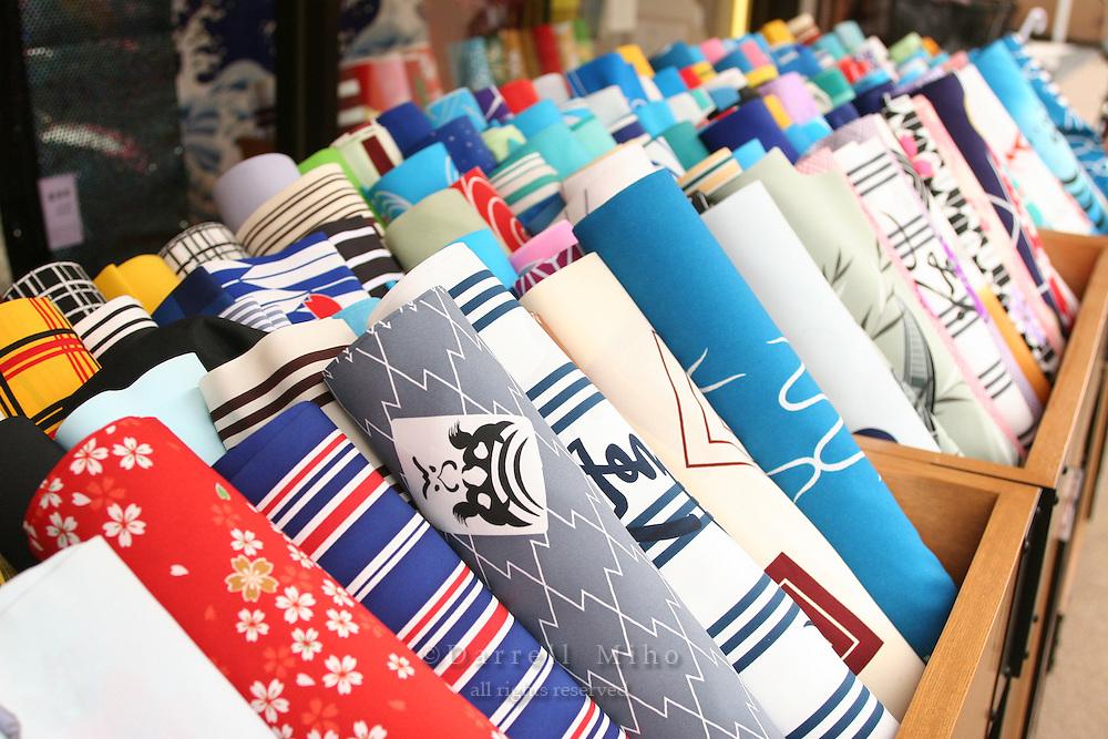 Mar 6, 2006; Tokyo, JPN; Asakusa.Japanese fabrics on display at a shop on a side street near the Senso-ji Buddhist temple...Photo credit: Darrell Miho