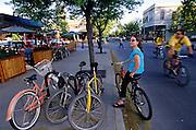 Summer street scene, Hyde Park, Boise, ID.