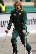 LONDON, ENGLAND - Sunday 11 May 2014, Werner Kok of South Africa injured and on crutches before the Cup quarter final match between South Africa and New Zealand at the Marriott London Sevens rugby tournament being held at Twickenham Rugby Stadium in London as part of the HSBC Sevens World Series.<br /> Photo by Roger Sedres/ImageSA