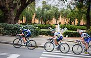 Movistar's Winner Anacona sets the pace for the  leader of the Volta Catalunya 2016 cycle race, Colombian Nairo Quintana, as he successfully defends his jersey from Alberto Contador and Dan Martin as the peloton climbs Montjuic, Barcelona, on the last stage of the Volta Catalunya 2016 cycling race. <br /> <br /> Movistar Winner Anacona marca el ritmo de la líder de la carrera ciclista Volta Catalunya 2016, Colombia Nairo Quintana, como defiende con éxito su maillot de Alberto Contador y Dan Martin como el pelotón sube Montjuic, Barcelona, en la última etapa de la Volta Catalunya 2016 carrera ciclista.<br /> <br /> Movistar Winner Anacona marca el ritme de la líder de la cursa ciclista Volta Catalunya 2016, Colòmbia Nairo Quintana, com defensa amb èxit el seu mallot d'Alberto Contador i Dan Martin com el pilot puja Montjuïc, Barcelona, en l'última etapa de la Volta Catalunya 2016 cursa ciclista.
