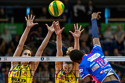 18-05-2019 GER: CEV CL Super Finals Igor Gorgonzola Novara - Imoco Volley Conegliano, Berlin<br /> Igor Gorgonzola Novara take women's title!Novara win 3-1 /  Anna Danesi #11 of Imoco Volley Conegliano, Kimberly Hill #15 of Imoco Volley Conegliano, Paola Ogechi Egonu #18 of Igor Gorgonzola Novara