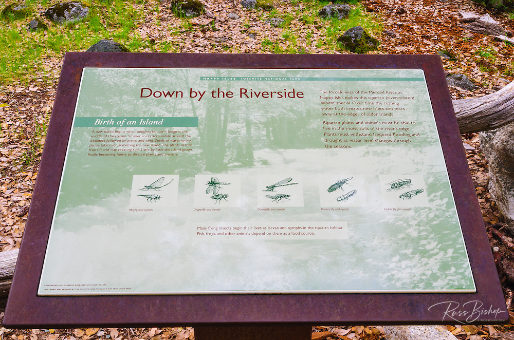 Interpretive sign at Happy Isles, Yosemite Valley, Yosemite National Park, California USA