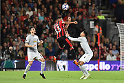 Jordan Ibe (33) of AFC Bournemouth heads the ball during the Premier League match between Bournemouth and Manchester United at the Vitality Stadium, Bournemouth, England on 18 April 2018. Picture by Graham Hunt.