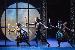 """© Licensed to London News Pictures. 07/12/2012. London, England. L-R: Sophia Hurdley as Feral, Christopher Marney as Count Lilac and Kate Lyons and Hibernia. World premiere of Matthew Bourne's """"Sleeping Beauty"""" at Sadler's Wells. Running from 4 December 2012 to 26 January 2013. Dancers of this section: Christopher Marney, Mari Kamata, Kate Lyons, Joe Walkling, Sophia Hurdley and Liam Mower. Photo credit: Bettina Strenske/LNP"""