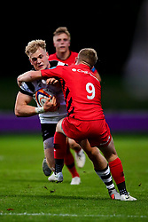 Aaron Chapman of Bristol Bears United is tackled by Matt Gallagher of Saracens Storm  - Mandatory by-line: Ryan Hiscott/JMP - 24/09/2018 - RUGBY - Clifton RFC - Bristol, England - Bristol Bears United v Saracens Storm - Premiership Rugby Shield
