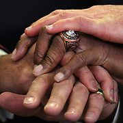 The hands of former New York Knicks players Clyde Frazier, Phil Jackson, Dick Barnett and Peter DeBusschere (Dave DeBusschere's son) during a press conference introducing Phil Jackson as New York Knicks president  at Madison Square Garden, New York, USA. 18th March 2014. Photo Tim Clayton