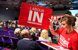 © Licensed to London News Pictures. 14/05/2016. London, UK.  Banners being handed out before Leader of the Labour Party, JEREMY CORBYN leads a rally to remain in the EU at the QE2 centre in Westminster, London. Campaigning for the  EU referendum is due to step up a gear over the weekend as key figures from both sides of the debate will be campaigning over weekend to try to win votes. Photo credit: Ben Cawthra/LNP