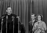 Loyalist leader, Rev Ian Paisley, speaking after Bannside election result in 1969 Stormont Election when he came close to unseating N Ireland Prime Minister, Captain Terence O'Neill, 24th February 1969, 196902240628<br /> <br /> Copyright Image from Victor Patterson, 54 Dorchester Park, <br /> Belfast, UK, BT9 6RJ<br /> <br /> t1: +44 28 9066 1296 (from Rep of Ireland 048 9066 1296)<br /> t2: +44 28 9002 2446 (from Rep of Ireland 048 9002 2446)<br /> m: +44 7802 353836<br /> <br /> victorpatterson@me.com<br /> victorpattersonbelfast@gmail.com<br /> <br /> Please see my Terms and Conditions of Use at victorpatterson.com. It is IMPORTANT that you familiarise yourself with them.<br /> <br /> Images used on the Internet incur an additional cost and must be visibly watermarked i.e. ©Victor Patterson within the body of the image and copyright metadata must not be deleted. Images used on the Internet have a size restriction of 4kbs and are chargeable at rates available at victorpatterson.com.<br /> <br /> This image is available only for the use of the download recipient i.e. television station, newspaper, magazine, book publisher, etc, and must not be passed on to any third party. It is also downloaded on condition that each and every usage is notified within 7 days to victorpatterson@me.com<br /> <br /> The right of Victor Patterson (or the named photographer) to be identified as the author is asserted in accordance with The Copyright Designs And Patents Act (1988). All moral rights are asserted.