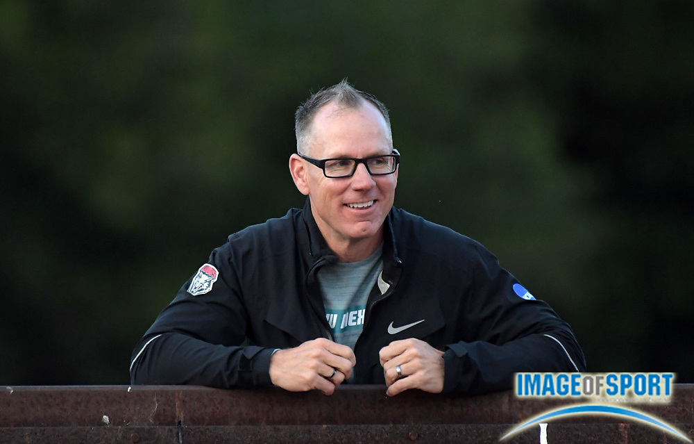 May 2, 2019; Stanford, CA, USA; New Mexico Lobos coach Joe  Franklin reacts during the 24th Payton Jordan Invitational at Cobb Track & Angell Field.