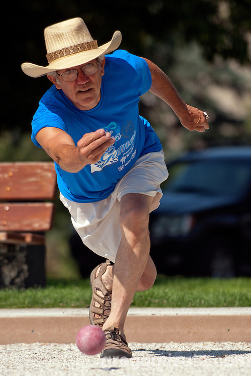 Gary Hartman competes in the Idaho Senior Games at Ann Morrison Park in Boise, Idaho on August 16, 2014.