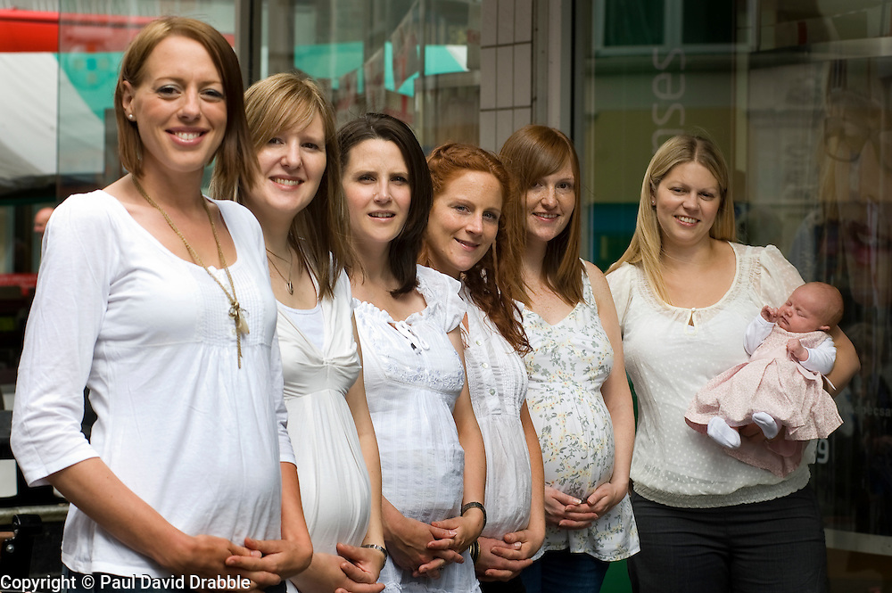 Chesterfield Specsavers Exceptional number of Staff Members Pregnant - left to right Allisia Charlesworth, Beth Ralph, Claire Wildman, Anna Nelson, Lindsey Wright and Kaitie Care with Daughter Lucy  24 June 2010 .Images © Paul David Drabble.
