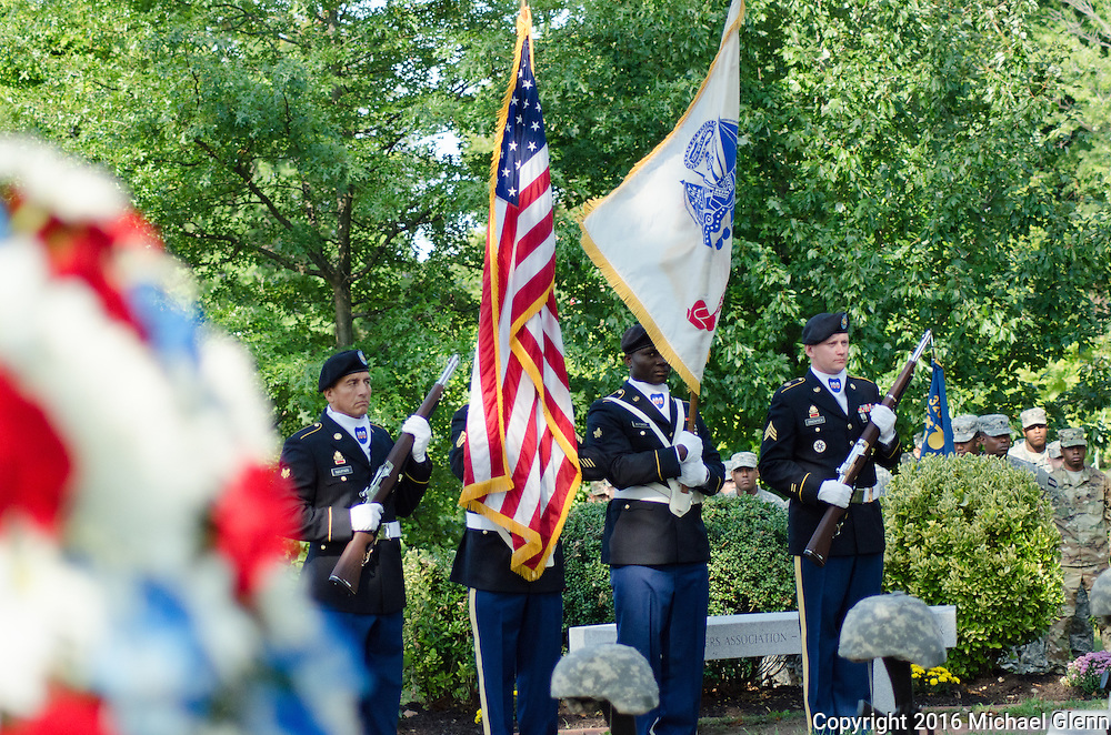 Sept 11, 2016, Bayside, NYC //  Color Guard practices prior to ceremony start. Members of the 77th RRC (USAR) gather at Fort Totten to remember members of the FDNY, that were also members of the USAR killed in the 9/11 attacks  //  Michael Glenn/ Glenn Images